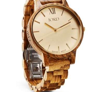 Frankie Zebrawood & Champagne - Swiss Movement Wood Watch by JORD