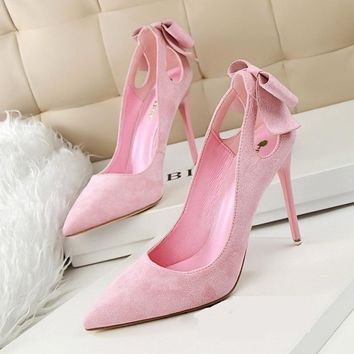 Spring Summer Bowknot Hollow Women Pumps Fashion Sexy High Heels Slip-on Pointed Toe Thin Heel Ladies Wedding Party Shoes