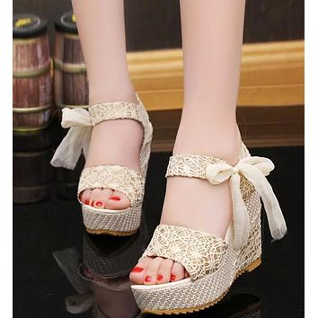 Summer Casual Sandals Fashion Print Lace Ribbons Women Sandals Wedges Platform High Heel