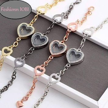 CLEARANCE - Story of My Life Heart Shaped Charm Locket Bracelet - Four Colors to Choose!