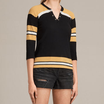 ALLSAINTS UK: Womens Grace Tee (BLACK/YELLOW/CHALK)