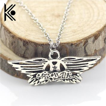 Aerosmith rock band wings pendant necklace for men women white golden alloy long chain necklaces pendants fans friends gift