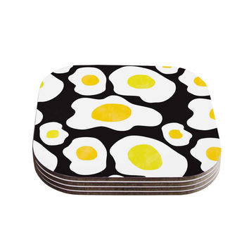 "Vasare Nar ""Fried Eggs Pattern"" Yellow Pop Art Coasters (Set of 4)"