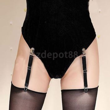 SPMART Adjustable Nylon Y-Style Sock Garters Sock Suspenders for Women Black Free Shipping