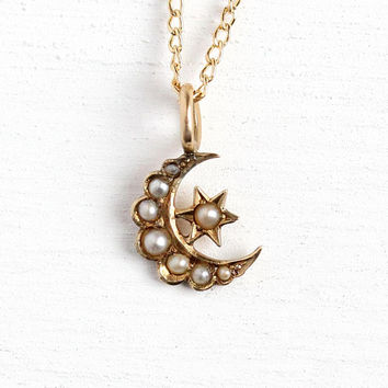 Moon & Star Pendant - Antique 14k Rosy Yellow Gold Crescent Pearl Necklace - Vintage 1900s Art Nouveau Edwardian Era Fine Conversion Jewelry