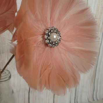 Pink Feather stemmed flowers Large Ready to Ship elegant rhinestone pearl arrangement decor wedding baby shower anniversary
