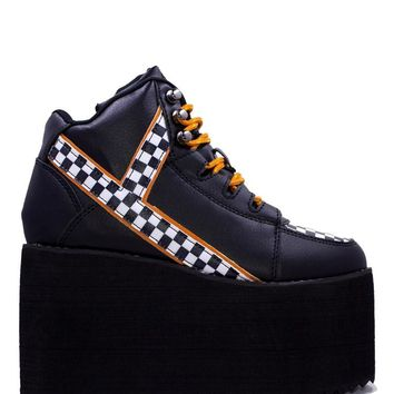 Y.R.U. Youth Rise Up Qozmo Checker Flag Platform Sneaker Shoes