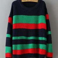 Stripes Stitching Color Knit Sweater