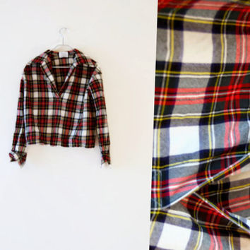 Vintage 60s Collared Plaid Shirt - Red and Yellow Plaid - Flannel - Wool Tartan Shirt - Cuffed Sleeves and V-Neck Blouse - Mad Men Clothing