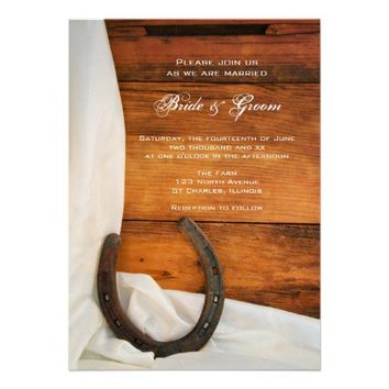 Horseshoe and Satin Country Wedding Invitation from Zazzle.com