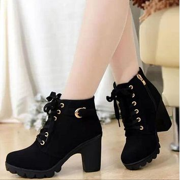 SHOES BOOTS Women Boots High Quality Solid Lace-up European Ladies shoes PU Fashion high heels Boots