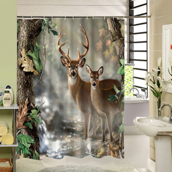 Animals Design Polyester Shower Curtain 180X180 Cm Waterproof Mildewproof For Kids Bath Decor
