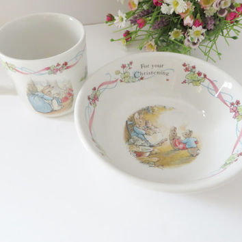 Beatrix Potter vintage 1990's mug and bowl set, Christening gift, Baby keepsake, Peter Rabbit mug and bowl set, Peter Rabbit