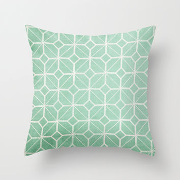 Shanghai - Hemlock / Mint / Jade Retro Geometric Throw Pillow by alterEGO