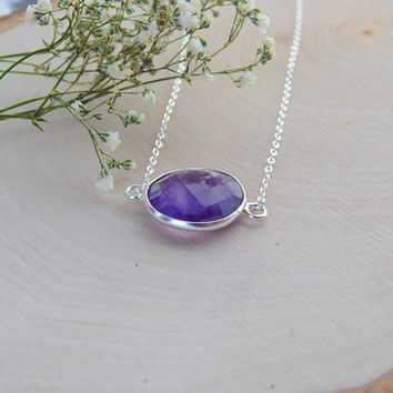 Amethyst Necklace - Pendant - Amethyst Crystal - Sterling Silver - Dainty - February Birthstone - Gift for her - Gemstone Necklace