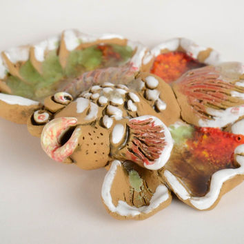 Handmade decorative interior ceramic wall hanging panel bright painted fish