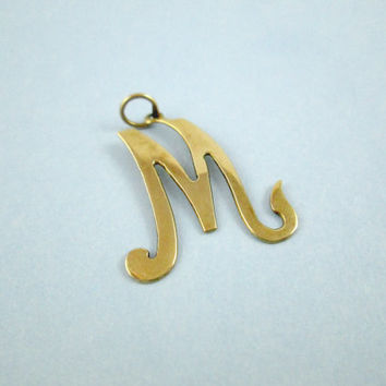 Charming 14k Letter Necklace Pendant or Charm Yellow Gold Cursive Style Writing Initial Monogram Very Giftworthy 1 Inch by3/4 Inch