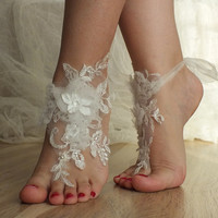 ivory Beach wedding barefoot sandals OOAK