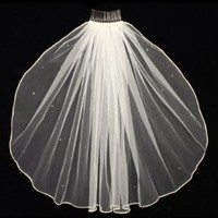 1T 1 Tier Rhinestones Crystal Sattin Rattail Edge Bridal Wedding Veil - Ivory Color Elbow Length 30""