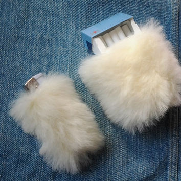 Clueless 90s Lighter Cover Cigarette Case, White Faux Fur