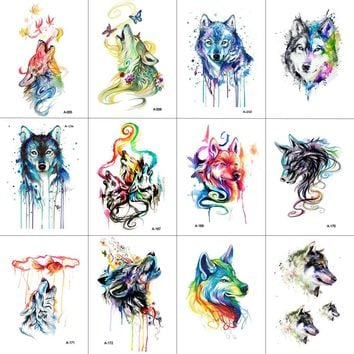 WYUEN 12 PCS/lot Wolf Temporary Tattoo Sticker for Women Men Fashion Body Art Adults Waterproof Hand Fake Tatoo 9.8X6cm W12-12