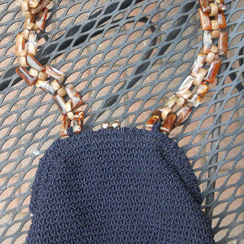 Saks Fifth Ave Blue Crochet Corde Purse With Lucite Chain Handle Made In Italy