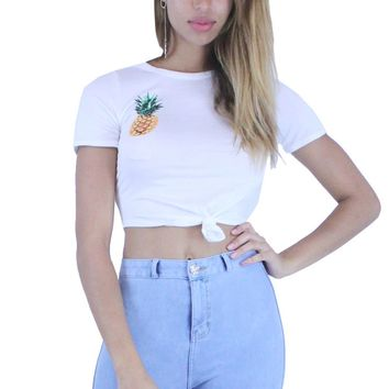 Pineapple Print Round Neck Short Sleeves Knotted Crop Top
