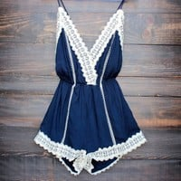 gypsy lace romper in navy