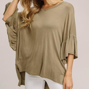 Knitted Ruffle Bell-sleeve Top