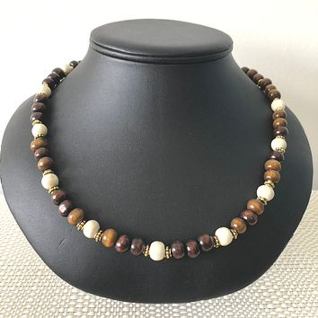 Brown and Beige Wood Beaded Mens Necklace