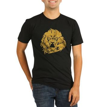Golden Lion Head Organic Men's Fitted T-Shirt (dark)