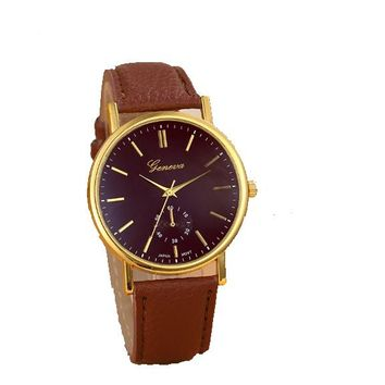 Classic Leather Analog Quartz Wrist Watch