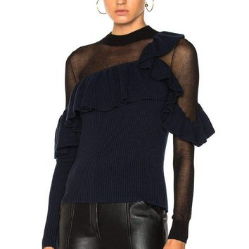 Ink Asymmetric Frill Sweater
