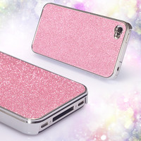 Shiny Pink Rhinestone Hard Cover Protective Case For Iphone 4/4s/5