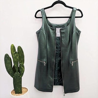 1990s Leather Mini Dress Zip Up Front Dress Metal Zipper Metallic Green Leather Dress Leather Tank Dress Club Kid Fitted Pockets S/M