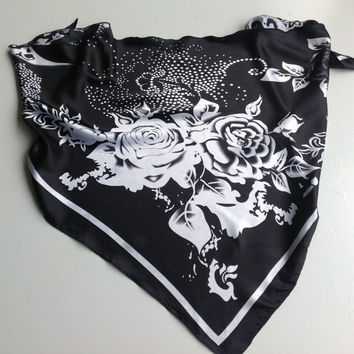 Black White scarf, Gift for Mother in law, Black Floral Scarf, Summer head Scarf, Red Chemo Scarf, Birthday Gift for Coworker, Neckerchief