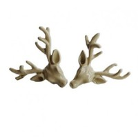 Cream-coloured Deer Head Earrings
