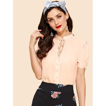 Apricot Tied Keyhole Front Scallop Puff Sleeve Blouse