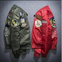 kanye west winter flight Embroidery jacket yeezus MA-1 men's cotton jacket tide brand hip hop coat Lovers military style frock coat