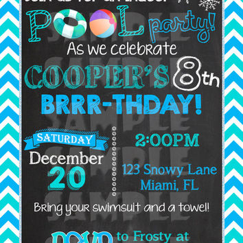 WINTER POOL PARTY Invitation - Winter Birthday Invite - Indoor Pool Party - Winter Birthday Chalkboard - Christmas Pool Party - snowflakes