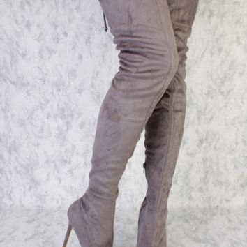 Grey Thigh High Pointy Toe Single Sole High Heel Boots Suede