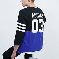 Adidas Stripes Back Three-Quarter Sleeve Tee in Black and Purple - Urban Outfitters