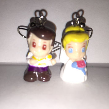 Squinkies Earrings -  Wedding Cinderella & Charming - made from re-purposed toys
