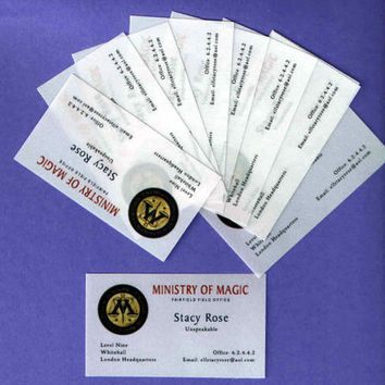 Ministry of Magic Business Cards Set of 10 Personalized for a Witch or Wizard