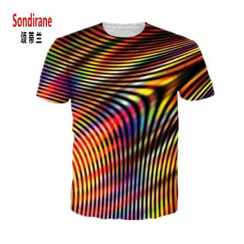 Sondirane Newest Womens/Mens Hologram Melt Funny 3D Print Casual T-Shirt Summer Short Sleeve Tees Hip Hop Tops Fashion Clothing