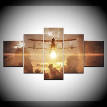 5 Panel Biplane Airplane Flying at Sunset Clouds Wall Art Canvas Panel Print