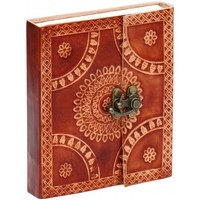 "Arty Collections - 6"" Writing Journal / Scrapbook With Handmade Paper & Embossed Leather Cover"
