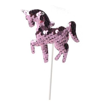 10pcs/set Unicorn Cupcake Topper rose gold Kids Happy Birthday Wedding bling Hen Party Cake Decor Supplies Flags Sequins