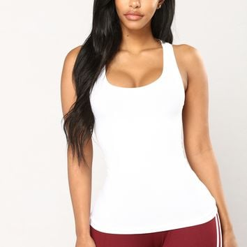 Just A Warm Up Seamless Tank Top - White