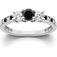 255 1 1/4CT Black & White Diamond Engagement 3-Stone Ring 10K White Gold